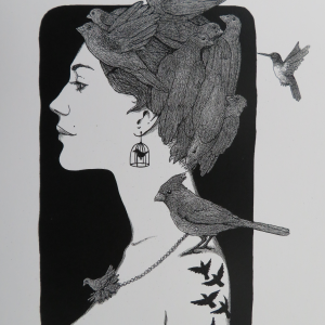 Bird Lady Lithograph Art